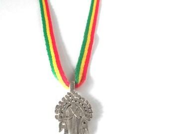 Ethiopian Cross Necklace - Rasta Jewelry - Lalibelle Cross Red Gold and Green Necklace - Reggae Jewelry - Dancehall Necklace - Rastafari