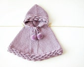 Alpaca Baby Poncho / Lilac Knit Girl Cape / Hand Knit Toddler Sweater / Hooded Cape With Pom Poms / Made To Order