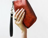 Party Clutch, Red Leather Clutch, Metallic Evening Bag, Metallic Clutch, Party Evening Bag, Gifts for Her, Glam Rock