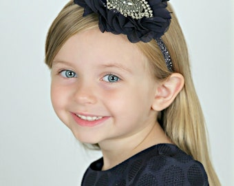 Navy Blue Headband - Flower Girl Headband - Bridal - Gatsby - Crystal -  Pageant - Bling - Glitter - Roaring 20s - Flapper - Wedding