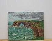ON SALE! Vintage coastal painting, English coastline, medium size, unframed on board