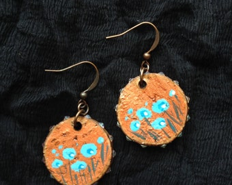 Recycled  Champagne Cork Earrings: Copper with Blue Flowers