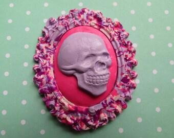Skull Cameo Pendant OR Brooch