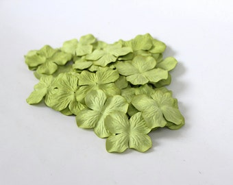 100 pcs - Green Mulberry Paper Hydrangeas - Wholesale pack