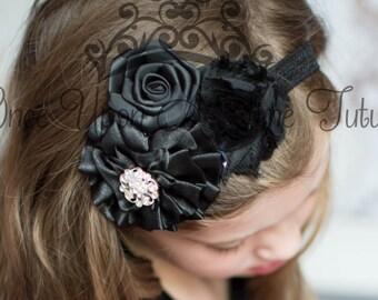 Black Shabby Satin Flower Rhinestone Hair Bow - Little Girl's Holiday Headband - Newborn Baby Dressy Hairbow - Rosette Trio Hair Accessory