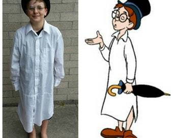 Upcycled Peter Pan Costume, John Darling Costume (White Night Shirt, Black Top Hat, Wire Rimmed Glasses) Youth Size