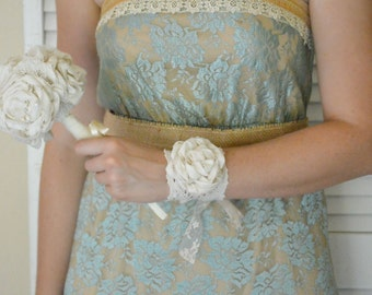 Lace Wrist Corsage Bridal Cuff Ivory Peony Flower Corsage Bracelet Bridal, Bridesmaid, Flower Girl, Mother of the Bride - Custom