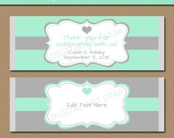 Mint & Grey Chocolate Bar Wrappers - Printable Bridal Candy Wrappers - EDITABLE Wedding Party Favors - Anniversary Candy Labels - INSTANT