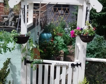 Beautiful Country Cottage Garden Gate Arch with Decorative Bargeboards, Including Side Handrail and Balustrades, Optional Gate.