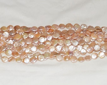 """Freshwater Coin Pearl 12-13mm Light Peach - 16"""" Strand"""