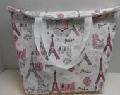 Cotton purse tote bag, Paris, Eiffel tower, gray flower, fashion, pink white, Europe, European, elegant, travel, french
