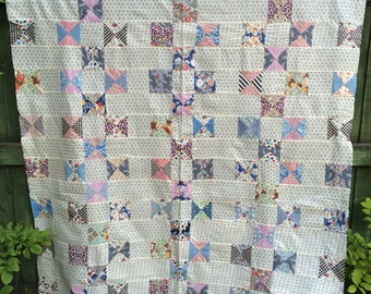 1930s Vintage Antique Quilt top with 19th century setting blocks