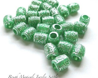 Mint Green and Silver Beads, 9mm x 7mm Beads, Acrylic Tube Beads, Large Hole Beads, Festive Holiday DIY Jewelry Making  - 18 Pieces SP166