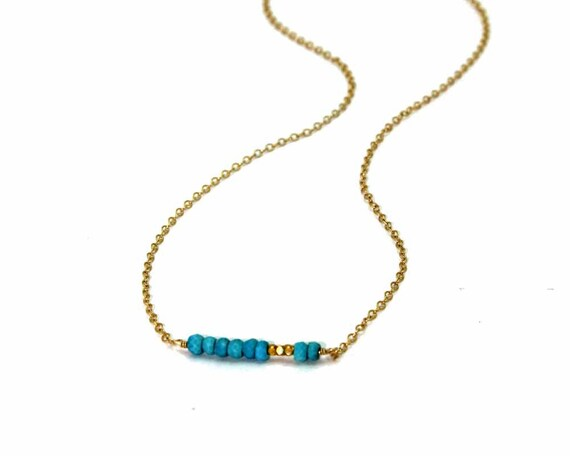 Turquoise Bar Necklace. Gold or Silver Layering Necklace. Simple Minimalist Jewelry. NS-1751