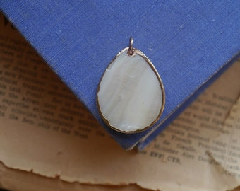 CLEARANCE 1 Shell Teardrop Pendant Gold Edged 40mm (SHP2658)
