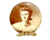 Antique Sepia Photo Victorian Mourning Portrait Celluloid // Metal Back // Collectible Late 1800s