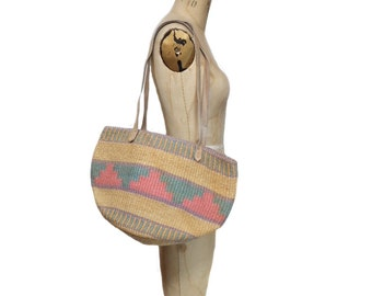 vintage sisal bag / sisal straw cotton / tote bag / beach bag / vintage purse