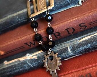 Steampunk Jewelry, Silver Skeleton key necklace black beaded, Steampunk Necklace, Gothic Necklace, Victorian  Jewelry, Upcycled Jewelry
