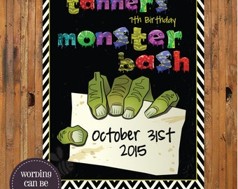 Halloween Party Save the Date - Monster Bash Halloween Party or Halloween Birthday Party invitation - Item H0019