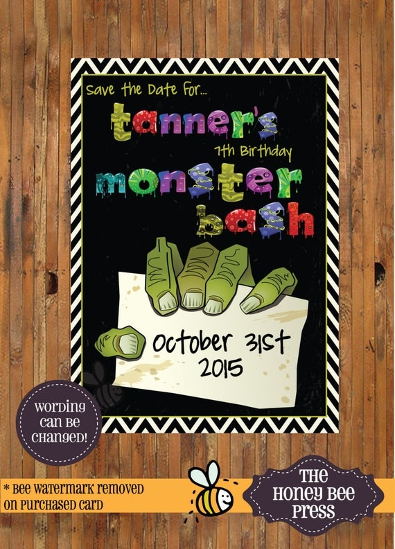 Halloween Party Save the Date Monster Bash Halloween Party
