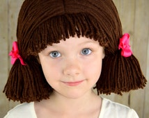 Cabbage Patch Wig Chocolate Brown Pigtail Baby Hat
