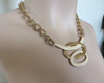 Vintage 1950s Mid Century Enamel Pendant Choker - Statement Necklace