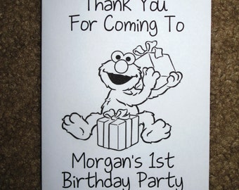 PDF FILE ONLY-- Elmo Inspired Personalized Coloring Books Birthday Party Favors Sesame Street 1st