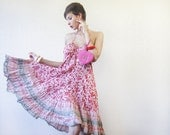 Red white floral print cotton colorful micro pleated midi dress