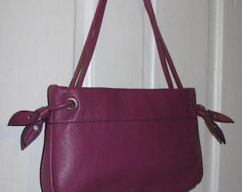 PURPLE LEATHER PURSE // Magenta Mulberry Double Strap Leaf Flower Shoulder Bag Clutch Convertible 90's Preppy