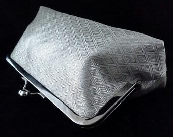 Silver silk obi fabric clutch purse evening bag with metal kiss lock closure - diamond pattern