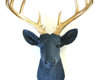 NAVY BLUE with Gold XL Faux Taxidermy Deer Head wall mount wall hanging / stag head / woodland decor / faux taxidermie faux animal head