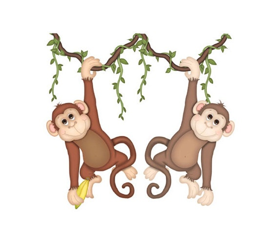 Monkey mural decal baby wall art safari jungle by for Baby jungle mural