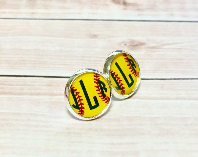 Monogram Earrings, Monogrammed Softball Earrings, Silver Monogrammed Earrings Stud Softball team Gift Initial Earrings Softball Earrings