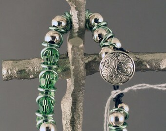 Celtic Inspired Green Crystal & Silver Bracelet