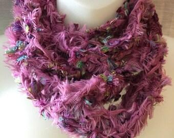 Scarf Necklace Cowl Purple Five Strand Crochet Soft Fuzzy Handmade