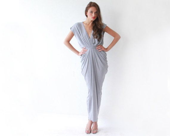 Light gray maxi bridesmaids dress with small sleeves 1008
