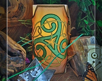 Beautiful Celtic Knot Triskele Embroidered Candle Wrap For LED Flameless Pillar Candles.