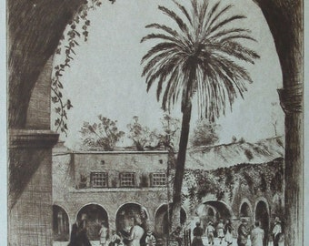 Mid-Century LA, 1940s Los Angeles, Dry Point Etching, Elias Grossman, Listed Artist, Pencil Signed, Glorious Detail