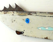 JOE zuppa di PESC - E #8, Reclaimed wood and rusty steel fish art, salvaged original chippy painted surface, folk art