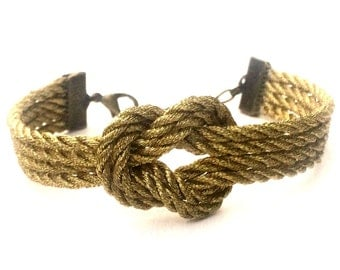 Adjustable Nautical Rope Knot Bracelet Gold Tie The Knot Bracelet Four Strand Thick Rope Bracelet