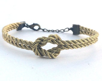 Adjustable Nautical Rope Knot Bracelet Metallic Gold Tie The Knot Bracelet