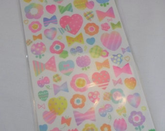 Kawaii Japan sticker Sheet Assort NEON Masking Tape Stickers Masking Seal Q-LIA HEARTS Ribbons Stripes Tulips Flowers Abstract Girly Sweet R