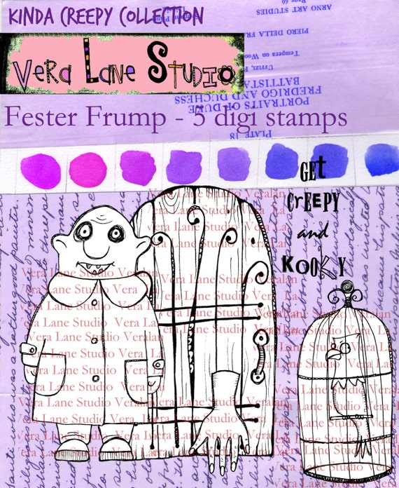 Fester Frump - Creepy and kooky five image digi stamp set from Vera Lane Studio