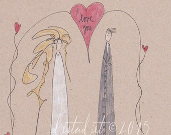 A4 Original Inspirational Drawing - I love you - OOAK Art - Ink and Watercolor