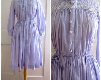 1950s Cotton Shirtwaist Dress - Rockabilly Dress - Lavender - Purple - Smocked - Circle Skirt