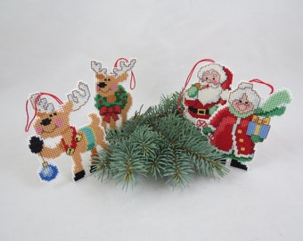 Vintage Cross Stitch Ornaments, Cross Stitch Christmas Ornaments, Cross Stitch Holiday Ornaments, Santa's Workshop,  Free Shipping, 7HTT15