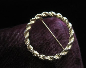 Tiffany & Co 14k Pin Wreath Brooch Twisted Scarf Pin Fourteen Karat Gold Women's Designer Original Tiffany and Company