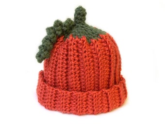 Babies Pumpkin Beanie, Crochet Baby Hat, you pick the size