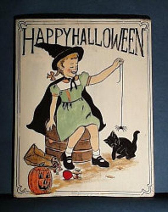Happy Halloween Retro Sign on Vintage Wood