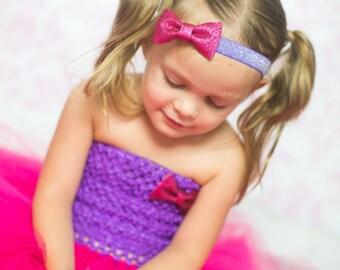 Hot Pink and Purple Glitter Bow Headband